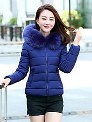 Damen Gefüttert Mantel,Kurz Einfach Übergröße Solide-Baumwolle Polypropylen Langarm