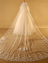cheap -Two-tier Cut Edge Lace Applique Edge Wedding Veil Cathedral Veils With Applique Lace Tulle
