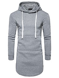 cheap -Men's Daily Hoodie Solid Hooded Micro-elastic Polyester Long Sleeve Winter Fall