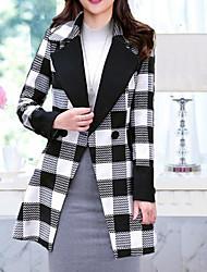 Cappotto Da donna Per uscire Casual Ufficio Semplice Inverno,A quadri Colletto alla coreana Cashmere Lana Lungo Manica lunga