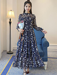 Women's Going out Sheath Dress,Floral Stand Maxi Long Sleeves Polyester Summer Mid Rise Micro-elastic Thin