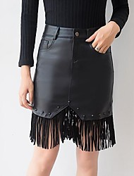 cheap -Women's Plus Size Bodycon Skirts - Solid, Tassel Rivet