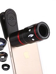 Недорогие -Объектив мобильного телефона coiorvis 0.67x широкий угол 180 глаз рыбы 15x макрос 10x телефото внешний объектив