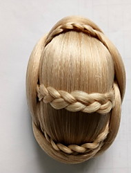 cheap -Kinky Curly Gold Bride Weave Human Hair Capless Wigs Chignons 1003