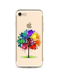 Capinha Para Apple iPhone X iPhone 8 Plus Transparente Estampada Capa Traseira Árvore Cores Gradiente Macia TPU para iPhone X iPhone 8