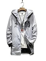 Men's Plus Size Fashion Slim Patch Design Medium Long Hooded Jacket
