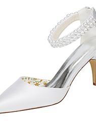 cheap -Women's Shoes Stretch Satin Spring / Summer Basic Pump Wedding Shoes Stiletto Heel Pointed Toe Pearl White / Party & Evening