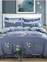 abordables -Floral 4 Piezas Algodón Algodón 1 Funda de edredón 2 Fundas de Almohada 1 Falda de cama