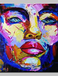 baratos -Pintados à mão Retratos Abstratos Abstracto Modern 1 Painel Tela Pintura a Óleo For Decoração para casa