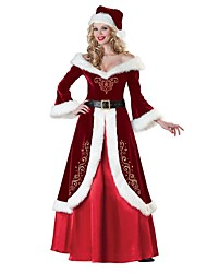 Santa Suit Mrs.Claus One Piece Dress Outfits Female Adults' Christmas Festival / Holiday Halloween Costumes Red Vintage