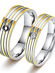cheap -Men's AAA Cubic Zirconia Band Ring - Titanium Steel Luxury, Classic, Love 5 / 6 / 7 / 8 / 9 White For Party Birthday Gift