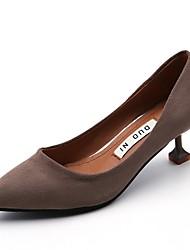 cheap -Women's Heels Comfort Summer PU Dress Kitten Heel Black Gray Khaki 1in-1 3/4in