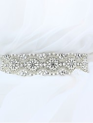 cheap -Satin/ Tulle Wedding Special Occasion Anniversary Birthday Party / Evening Sash With Rhinestone Crystal Imitation Pearl Appliques Sashes