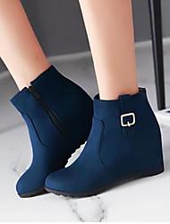 Feminino Sapatos Couro Ecológico Inverno Conforto Botas Para Casual Preto Vermelho Azul