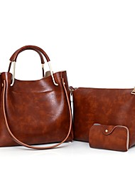 cheap -Women's Bags PU Bag Set 3 Pcs Purse Set for Casual Gray / Wine / Brown