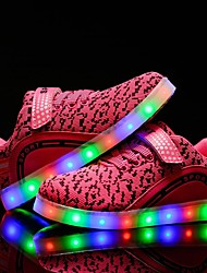 cheap -Girls' Sneakers Light Up Shoes Fall Winter Tulle Walking Shoes Casual Party & Evening Outdoor LED Low Heel Black Blue Blushing Pink 1in-1
