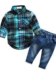 billige -Baby Drenge Ternet Ternet Langærmet Bomuld Tøjsæt
