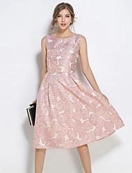Linea A Vestito Da donna-Feste Per uscire Casual Vintage Moda città Sofisticato Collage Rotonda Medio Senza maniche PoliesterePer tutte