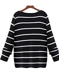 Недорогие -Для женщин Пляж  Обычный Пуловер Контрастных цветов,Круглый вырез Длинный рукав Другое Весна Лето Средняя Слабоэластичная