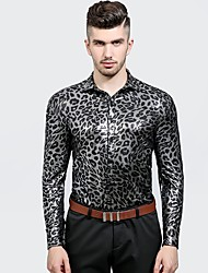 cheap -Men's Party Weekend Chinoiserie Cotton Slim Shirt - Leopard, Denim