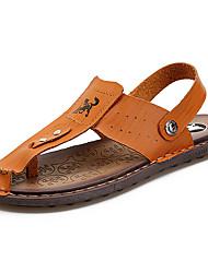 Men's Sandals Slingback Summer PU Walking Shoes Casual Rivet Flat Heel Dark Brown Light Brown 2in-2 3/4in