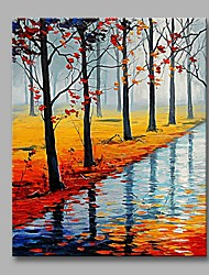 cheap -Maple Forest by The Lake Wall Decor Hand Painted Contemporary Oil Paintings Modern Artwork Wall Art