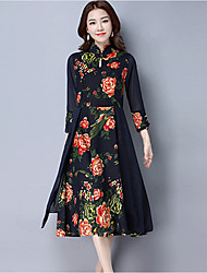 Women's Plus Size Going out Vintage A Line Swing Dress,Print Stand Midi 3/4 Length Sleeve Linen Polyester Fall Mid Rise Micro-elastic