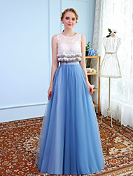 Ball Gown Jewel Neck Floor Length Tulle Graduation Prom Formal Evening Dress with Beading Lace by SG