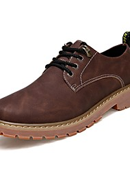 cheap -Men's Oxfords Comfort PU Spring Fall Casual Lace-up Flat Heel Light Brown Dark Brown Coffee Flat