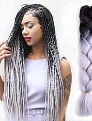 Tresses au Crochet Afro Rajouts Colorés Cheveux 100 % Kanekalon Noir rouge Noir / Bleu Noir / Violet Noir / Vert GrisExtensions de