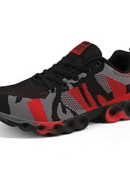 Men's Athletic Shoes Light Soles Fall Winter Knit Running Shoes Athletic Outdoor Low Heel Black/Red Gray Under 1in