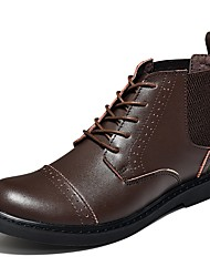 cheap -Men's Shoes Leather Winter Fall Combat Boots Oxfords Walking Shoes Lace-up for Casual Black Coffee