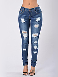 cheap -Women's Skinny Skinny Jeans Pants - Solid, Ripped High Rise