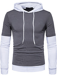 cheap -Men's Daily Casual Punk & Gothic T-shirt,Color Block Hooded Long Sleeve Cotton 20D