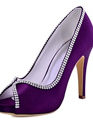 cheap -Women's Shoes Stretch Satin Spring Summer Basic Pump Heels Stiletto Heel Peep Toe Crystal for Wedding Dress Black Dark Blue Dark Purple