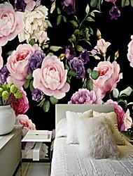 Недорогие -черный фон пион цветок на заказ 3d большие настенные покрытия росписи обоев fit ресторан телевизор фон цветок