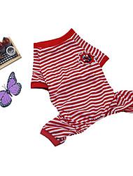 baratos -Cachorro Pijamas Roupas para Cães Riscas Rosa cor de Rosa Rosa Vermelho Azul Rosa claro Algodão Ocasiões Especiais Para animais de