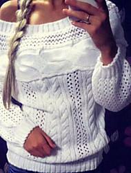 economico -Lungo Pullover Da donna-Quotidiano Casual Moda città Tinta unita Monospalla Manica lunga Cotone Poliestere Inverno Autunno Spesso