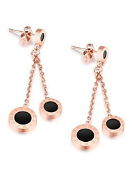 Ornament wholesale European and American style simple atmospheric Roman digital black circular pie earring earring accessories