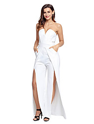 Women's High Rise Club Holiday Jumpsuits,Sexy Straight Split Solid Summer