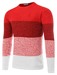 cheap -Men's Sports Wool Pullover - Color Block, Cut Out Round Neck