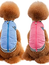 cheap -Cat / Dog Coat / Vest Dog Clothes Solid Colored Blue / Pink Cotton / Linen Blend Costume For Pets Party / Casual / Daily / Keep Warm