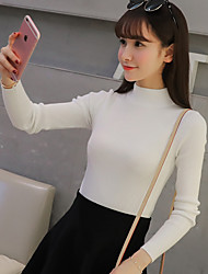 Women's Casual/Daily Short Pullover,Solid Round Neck Long Sleeves Others Winter Thick Micro-elastic
