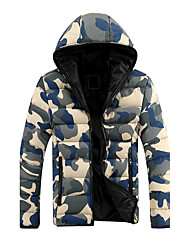 Hot Sale High Quality Men's Regular Padded CoatSimple Going out Casual/Daily Camouflage-Cotton Polyester Long Sleeves