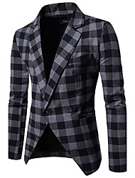 cheap -Men's Work Simple Casual Fall Blazer,Plaid Peaked Lapel Long Sleeve Regular Cotton