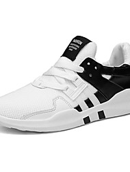 Men's Athletic Shoes Comfort Spring Fall Rubber Outdoor Lace-up Flat Heel White Black Black/White Under 1in
