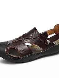 Men's Sandals Comfort Summer Leather Walking Shoes Casual Rivet Flat Heel Dark Brown Light Brown 2in-2 3/4in