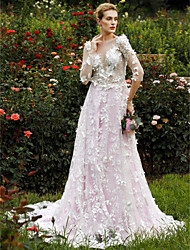 cheap -A-Line Princess Plunging Neckline Chapel Train Lace Custom Wedding Dresses with Tiered Flower by LAN TING BRIDE®