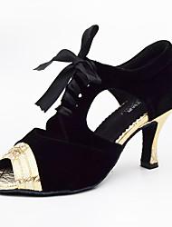 Damen Latin Kunstleder Sandalen Sneakers Professionell Stöckelabsatz Gold Silber Maßfertigung