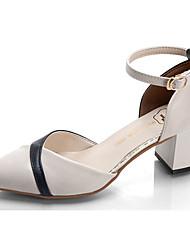 cheap -Women's Shoes PU Summer Slingback Heels Low Heel Pointed Toe Buckle for Dress Black / Beige